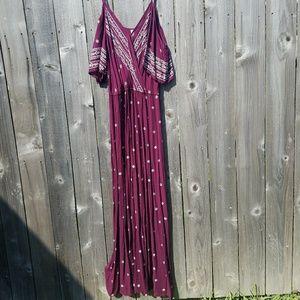 Cold shoulder plum colored maxi dress